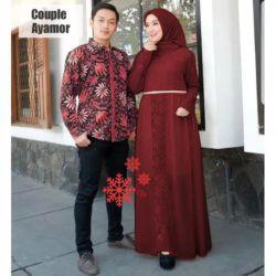 Baju Couple Gamis Brukat dan Kemeja Batik