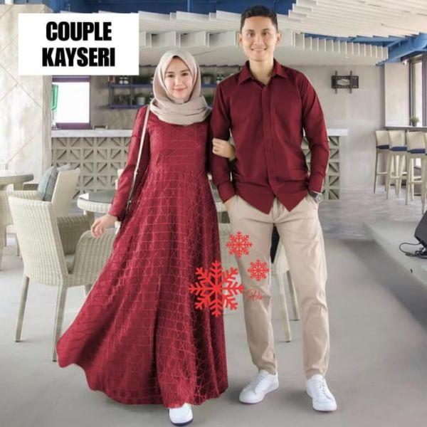 Baju Couple Gamis Brukat dan Kemeja Panjang