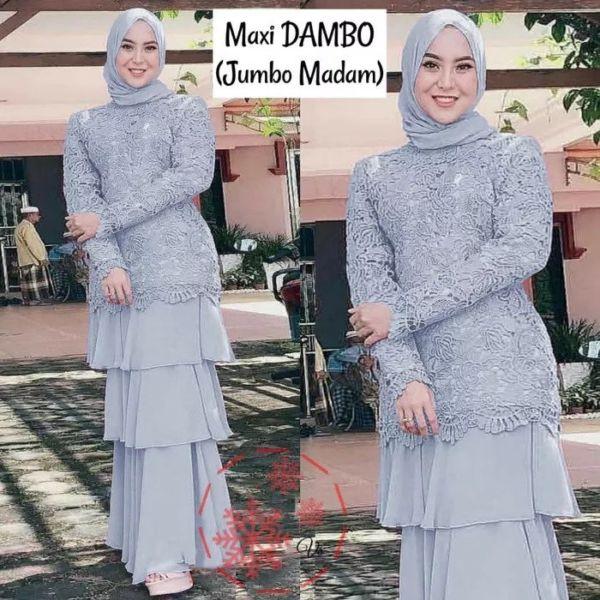Baju Gamis Long Dress Muslim Brukat Jumbo