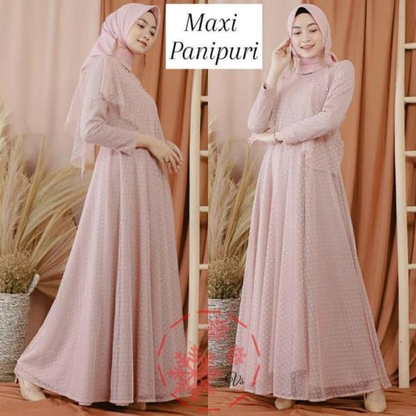 Baju Gamis Long Dress Muslim Tille Polkadot