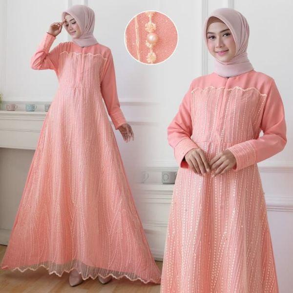 Baju Long Dress Muslim Gamis Tille Pesta