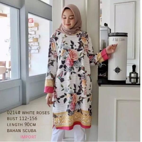Model Baju Atasan Tunik Motif Bunga Terbaru