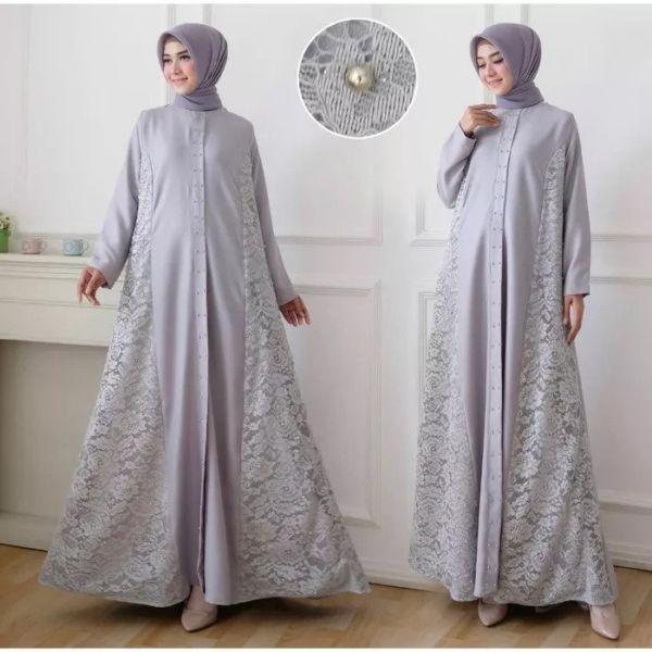 Model Baju Gamis Brukat Long Dress Muslim Terbaru