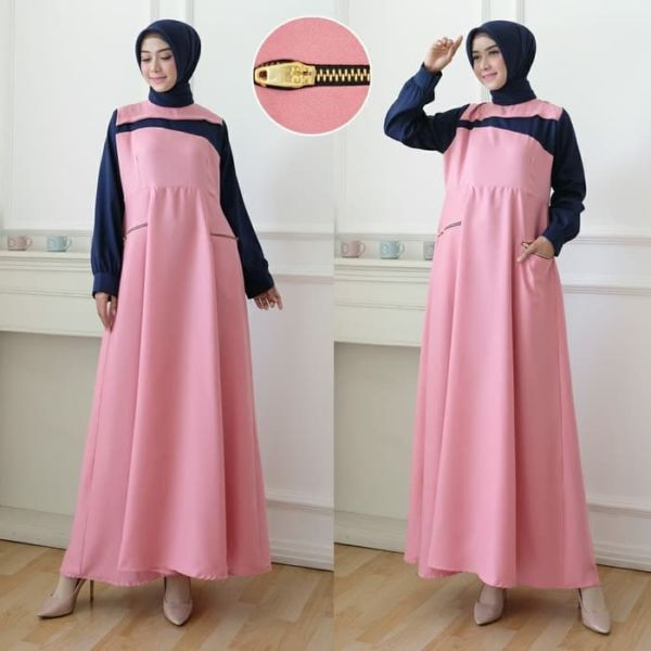 Model Baju Gamis Long Dress Muslim Warna Kombinasi