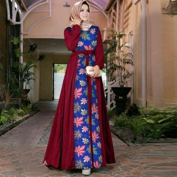 Model Baju Gamis Motif Batik Modern Terbaru