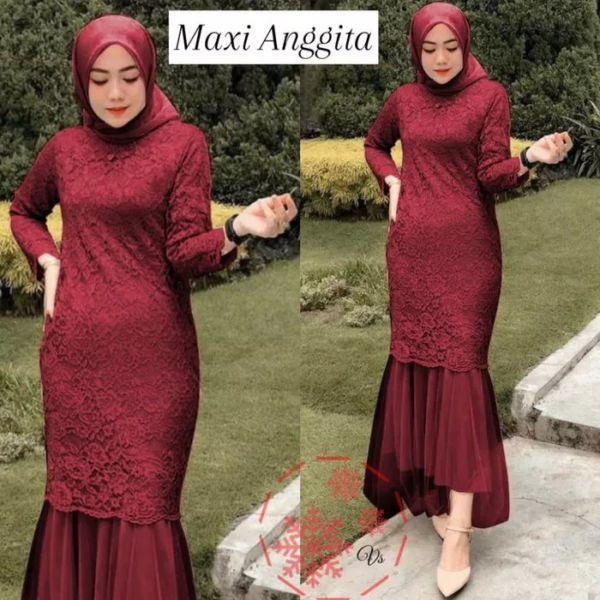 Model Baju Gamis Pesta Long Dress Duyung Terbaru
