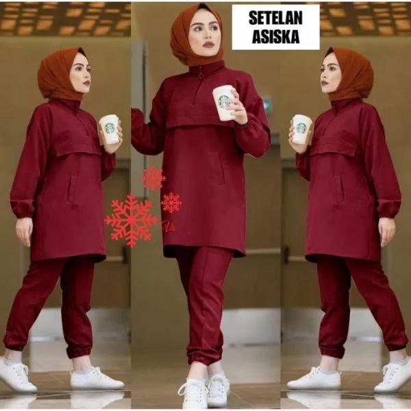 Setelan Baju dan Celana Panjang Muslim Wanita