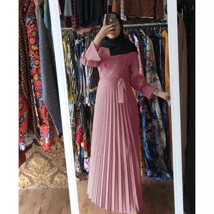 Model Baju Gamis Plisket Terbaru Modern Cantik Ryn Fashion