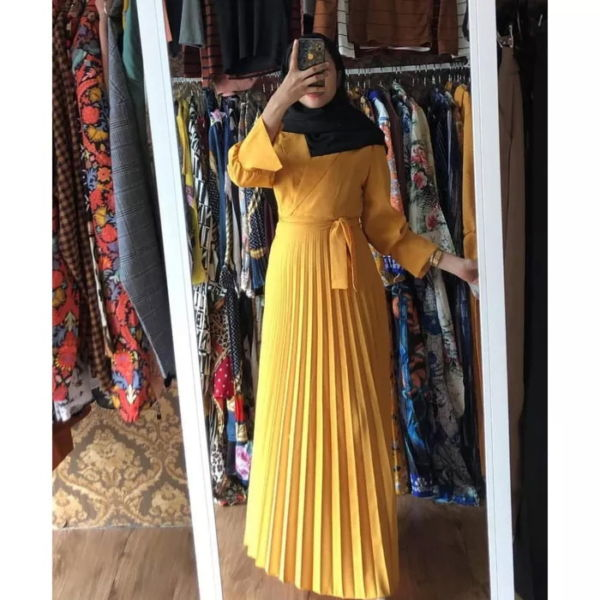 Model Baju Gamis Plisket Terbaru Modern Cantik