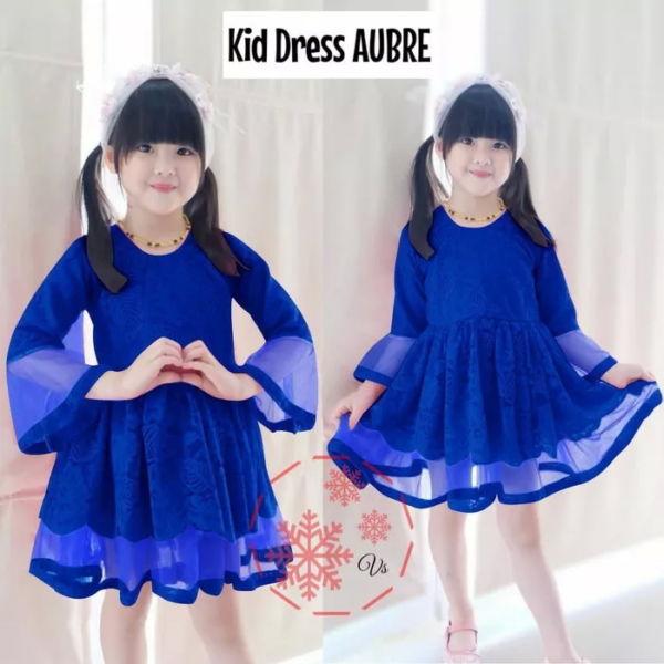Baju Dress Anak Bahan Brukat Kombinasi Tille