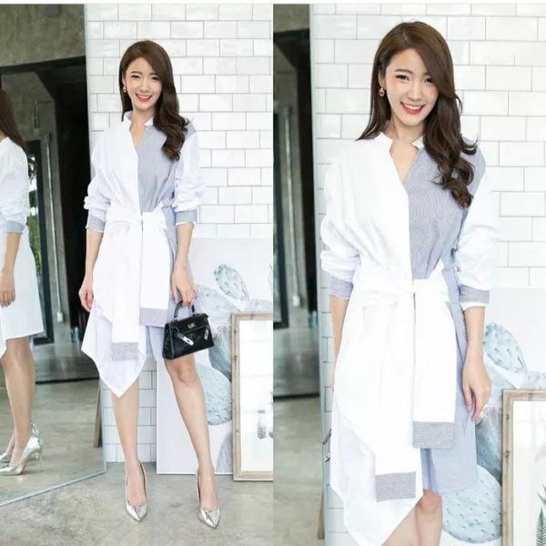Baju Dress Jumbo Twotone Cantik Modern