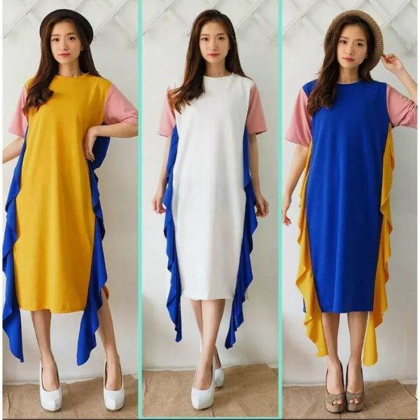 Baju Dress Pendek Rumbai Kombinasi Warna