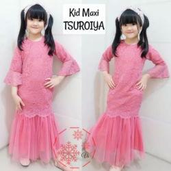 Baju Muslim Gamis Anak Bahan Brukat Cantik