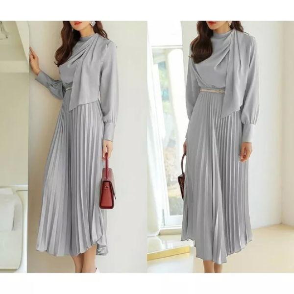 Model Baju Dress Korea Desain Plisket Terbaru