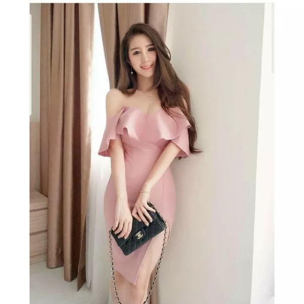 Baju Dress Sabrina Pesta Bahan Scuba Cantik