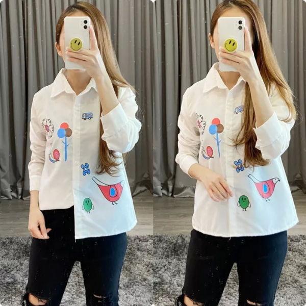 Baju Kemeja Hem Wanita Warna Putih Cute
