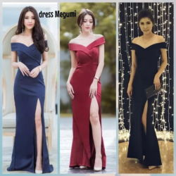 Baju Long Dress Slit Model Sabrina Terbaru