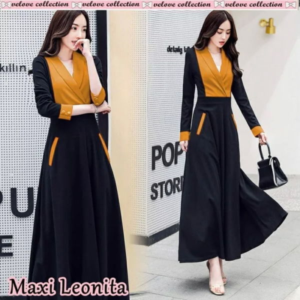 Baju Maxy Long Dress Simple Lengan Panjang