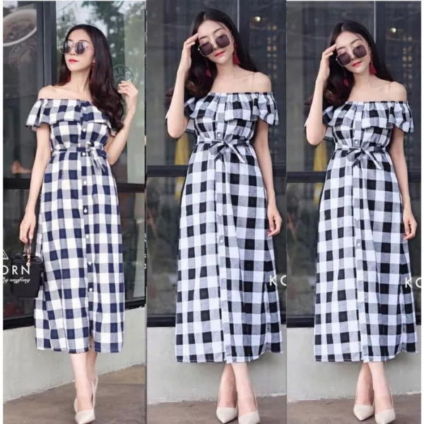 Baju Midi Dress Sabrina Motif Kotak Murah