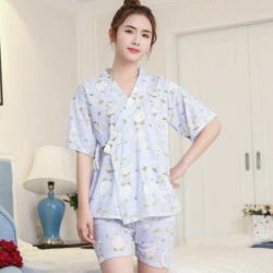 Setelan Baju Tidur Kimono dan Celana Pendek