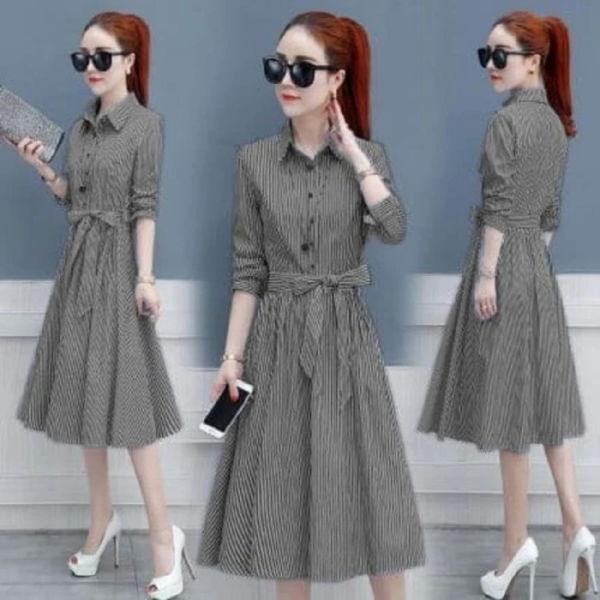 Baju Dress Pendek Wanita Motif Belang Modern