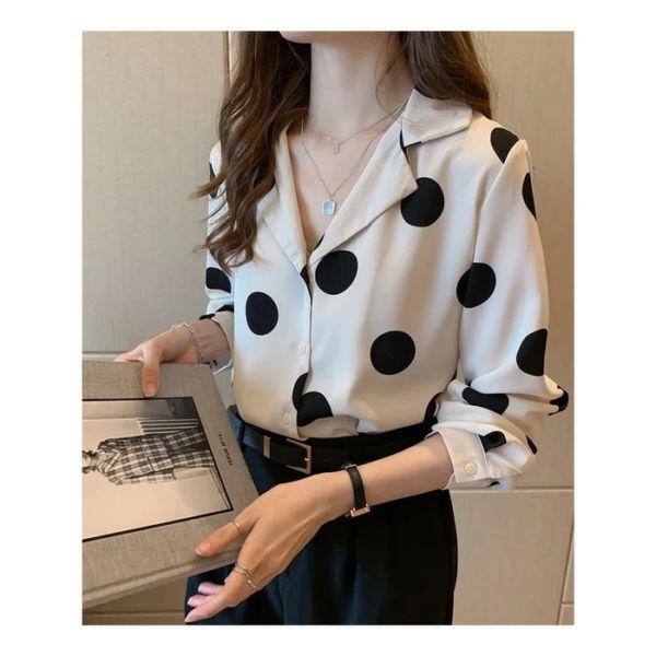 Baju Kemeja Wanita RYN Fashion Motif Polkadot