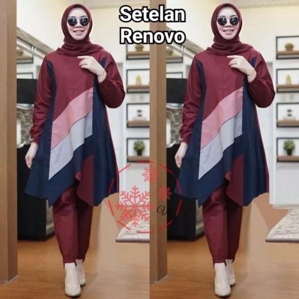 Setelan Baju Tunik dan Celana Panjang Muslim