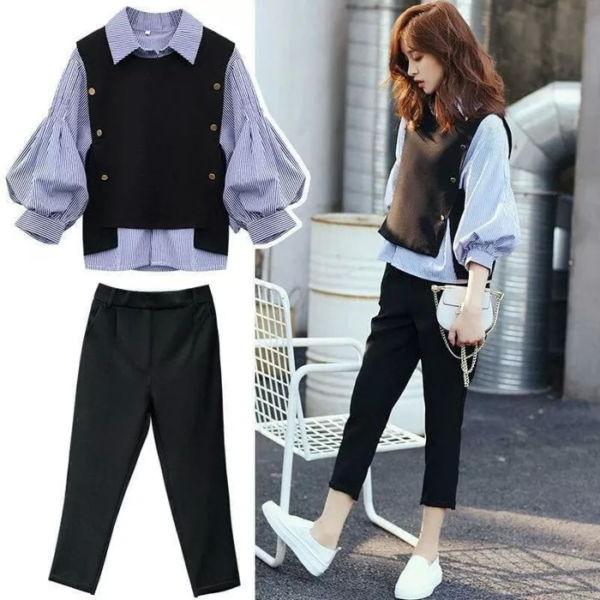 Setelan Baju dan Celana Panjang Kombinasi Rompi