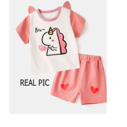Baju Anak Perempuan Setelan Celana Pendek Unicorn