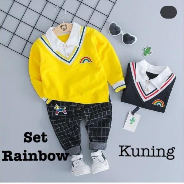 Baju Kaos Kerah dan Celana Panjang Anak Cowok