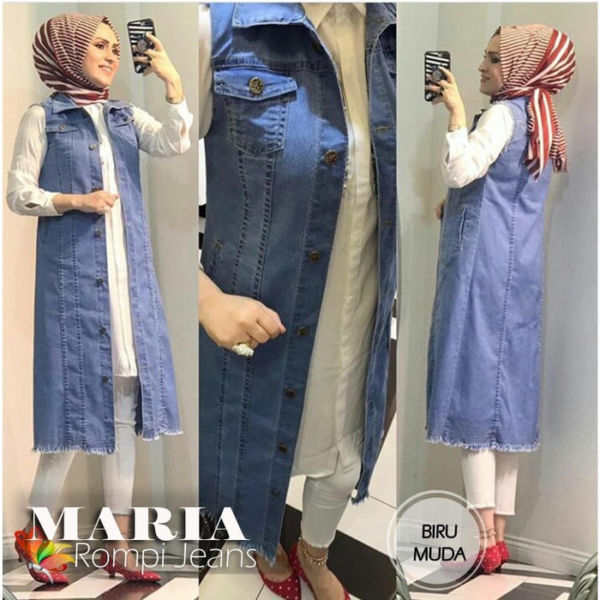 Baju Rompi Outer Panjang Wanita Bahan Jeans