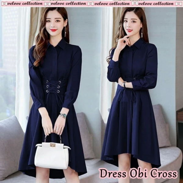 Model Baju Dress Pendek Obi Lengan Panjang