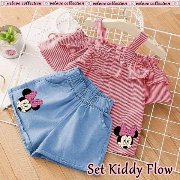Setelan Baju Sabrina & Celana Pendek Anak Cewek