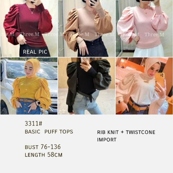 Baju Atasan Wanita Blouse Model Lengan Balon Puff