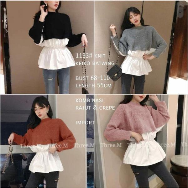 Baju Atasan Wanita Knit Rajut Batwing Masa Kini