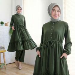 Setelan Baju dan Celana Panjang Muslim Polos