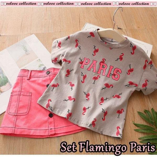 Setelan Baju dan Rok Pendek Anak Motif Flamingo