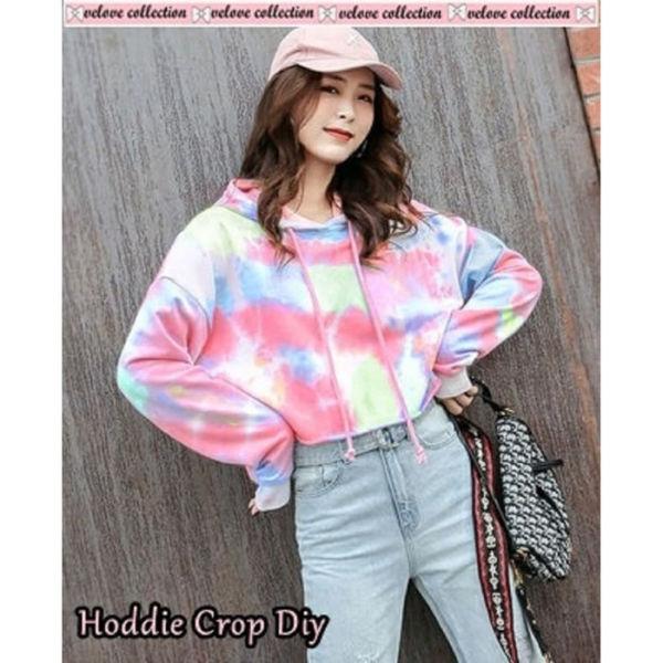 Sweater Hoodie Crop Motif Tie Dye Harga Murah