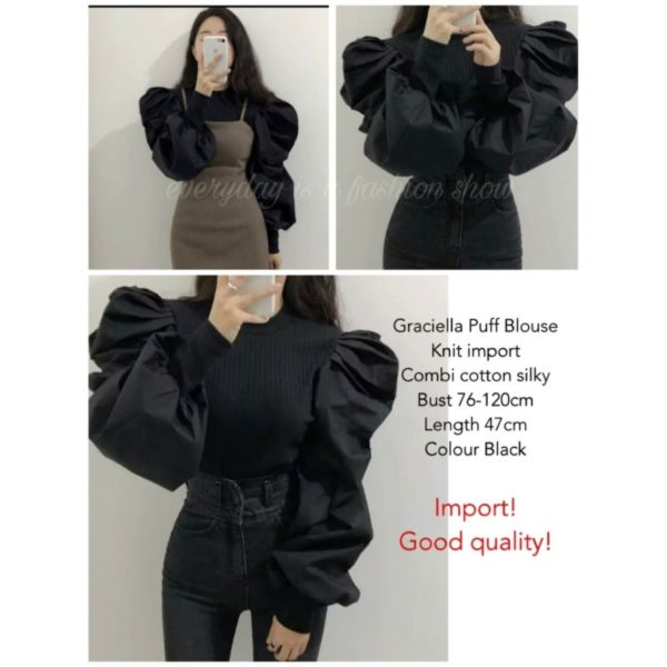 Baju Atasan Wanita Blouse Ballon Puff Lengan Panjang