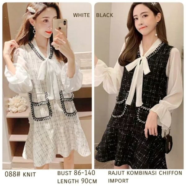 Baju Dress Pendek Knit Rajut Cantik Ala Korea