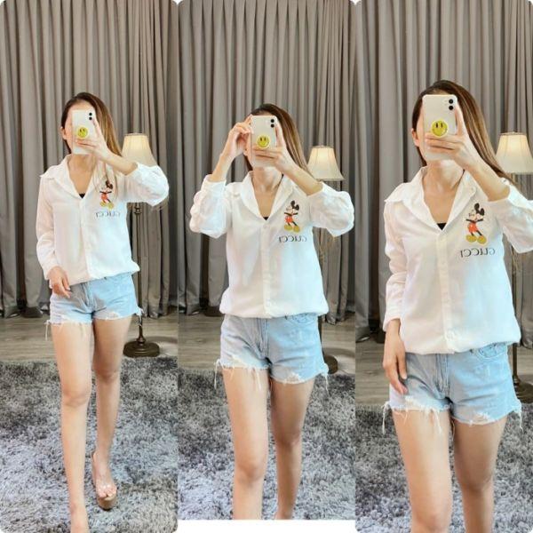 Baju Kemeja Wanita Gambar Mickey Lengan Panjang