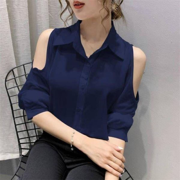 Baju Kemeja Wanita Model Bahu Bolong Terbaru