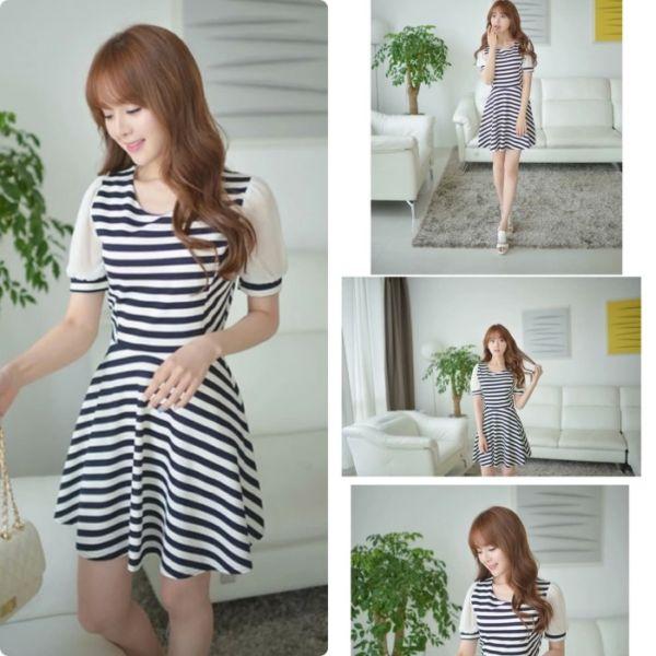 Baju Mini Dress Cantik Motif Garis-garis Salur