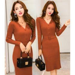 Baju Mini Dress Minimalis Bahan Rajut Ketat