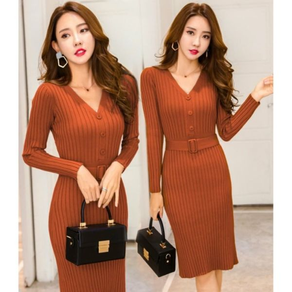 Baju Mini Dress Minimalis Bahan Rajut Ketat