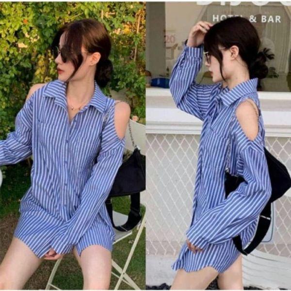 Model Baju Kemeja Wanita Bahu Bolong Terbaru