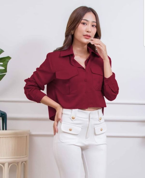 Baju Atasan Wanita Blouse Crop Saku Model Terbaru