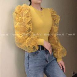 Baju Atasan Wanita Lengan Ballon Lace Puff Panjang