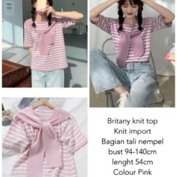 Baju Atasan Wanita Lengan Pendek Knit Top Ala Korea