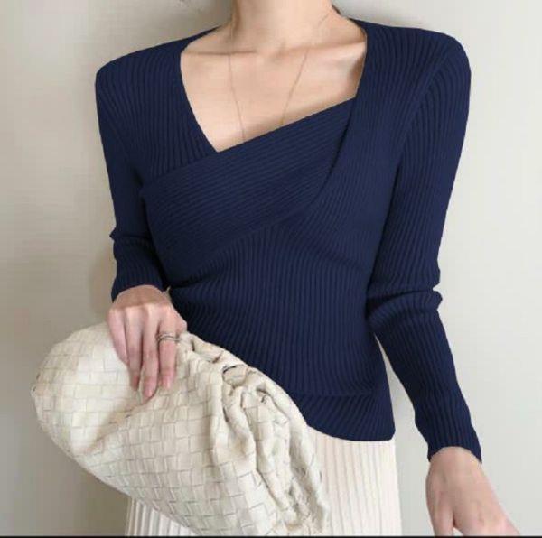 Baju Blouse Atasan Wanita Rajut Lengan Panjang